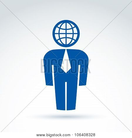 Silhouette Of Person Standing In Front - Vector Illustration Of A Manager.  Delegate, Consultant, Wh