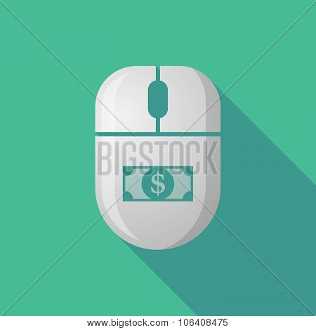 Wireless Long Shadow Mouse Icon With A Dollar Bank Note