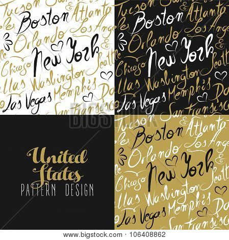 Travel America Usa Pattern City New York Gold