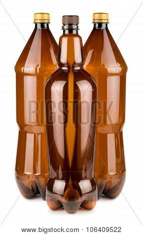 Three Brown Empty Plastic Bottles