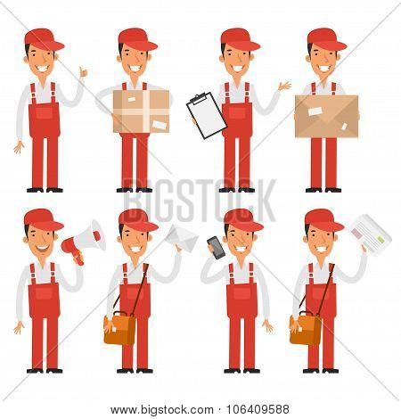 Loader postman in various poses