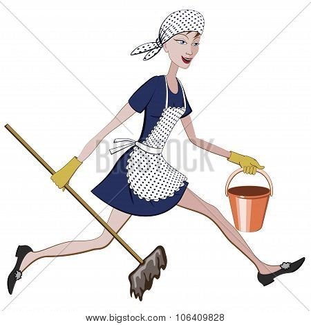 Cartoon Charwoman Running With A Bucket And Mop In Hand
