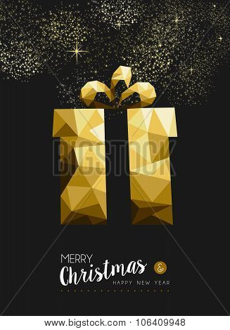 Merry Christmas Happy New Year Gold Gift Triangle