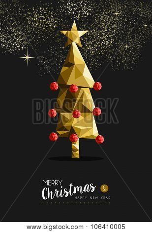 Merry Christmas New Year Golden Tree Low Poly