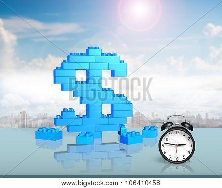 Dollar Sign Shape Of Stack Blocks With Alarm Clock