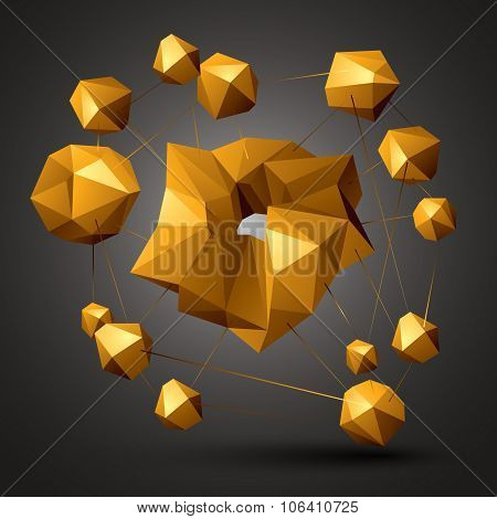 Asymmetric 3D Abstract Object, Colorful Geometric Spatial Forms. Render And Modeling.