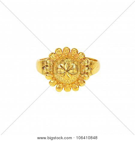 Gold Ring On White Background, Front Side
