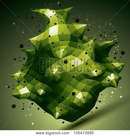 Spatial Technological Green Shape, Polygonal Colorful Wireframe Object.