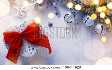 Art Christmas Holidays Decoration;  Gift Boxes And Christmas Tree Lighy