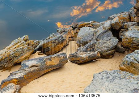 Stone Desert On Fantastic Sunset Background .