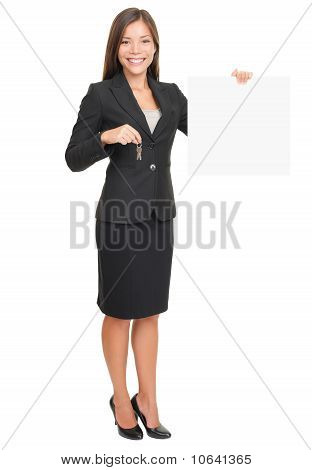 Real Estate Agent Showing Sign