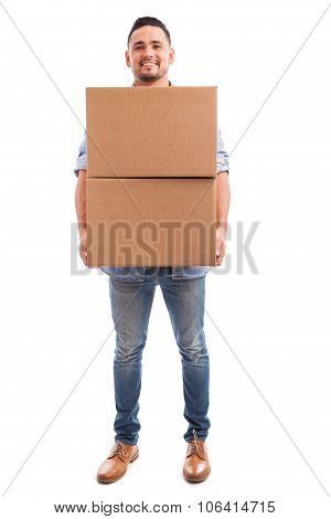Young Man Carrying Some Boxes