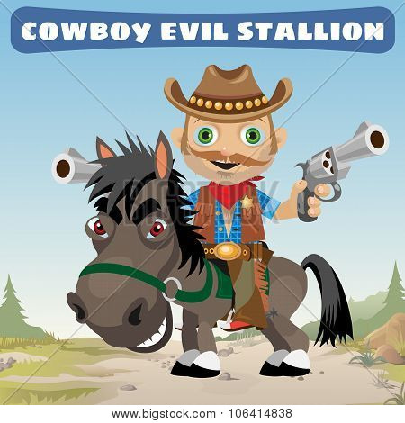 Armed cowboy for an evil stallion