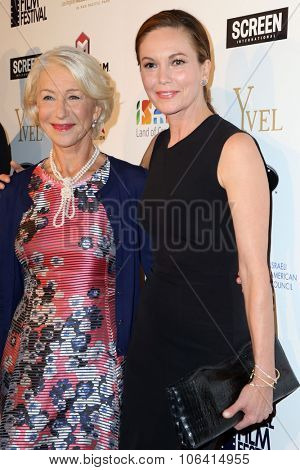 LOS ANGELES - OCT 28:  Helen Mirren, Diane Lane at the 29th Israel Film Festival - Opening Night Gala at the Saban Theatre on October 28, 2015 in Beverly Hills, CA
