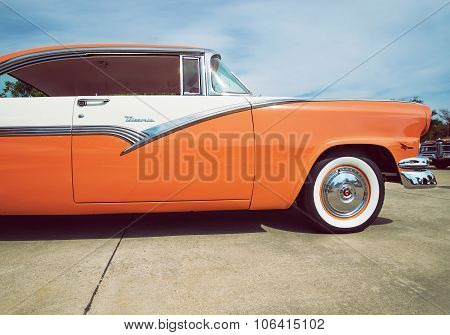 Mandarin Orange And White 1956 Ford Victoria Classic Car
