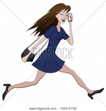 Cartoon Girl Running Hurriedly With A Bag And Phone In Hand