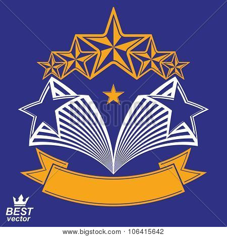 Vector Detailed Luxury 3D Symbol. Monarch Emblem, Celebrative Stars. Stylized Brand Icon, Award Conc