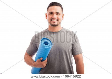 Young Man Ready For Yoga Class
