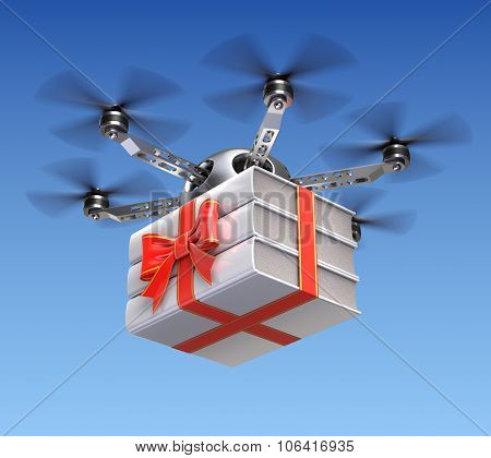 Drone with gift wrapped books
