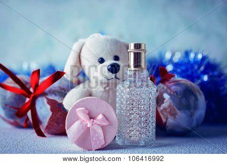 Teddy bear and Christmas toys