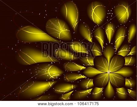 Abstract vector fractal resembling a flower on pink background. EPS10 vector illustration