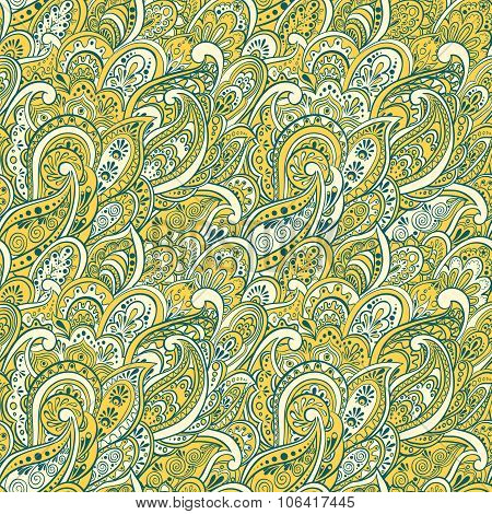 colorful paisley seamless pattern in indian style