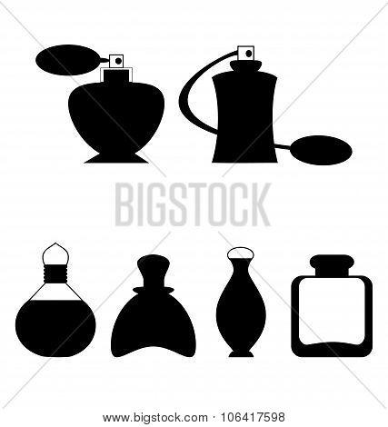 Set of flat woman perfume isolated on white