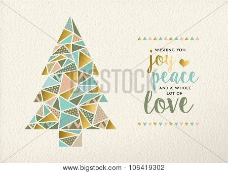 Merry Christmas New Year Triangle Tree Gold Retro