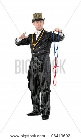 Illusionist Shows Tricks With A Rope
