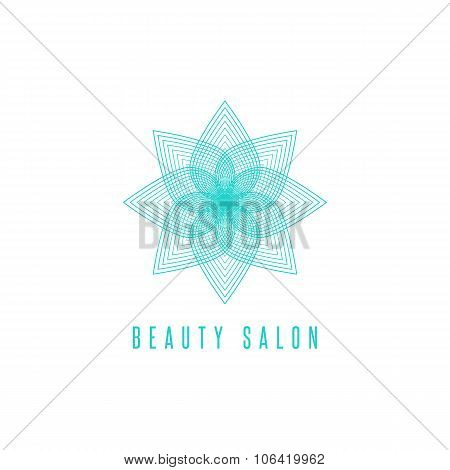 Flower Logo Monogram, Thin Line Style Floral Beauty Salon Emblem, Cosmetologist Business Card Symbol