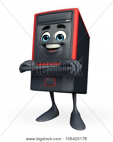 Computer Cabinet Character Is Folding Hand