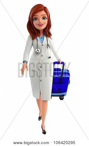 Young Doctor With Traveling Bag