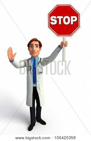 Young Doctor With Stop Sign