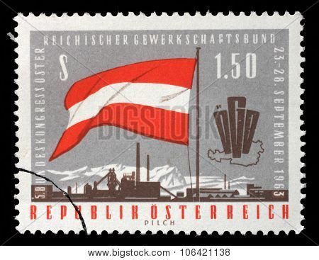 AUSTRIA - CIRCA 1963: A stamp printed in Austria, devoted to the 5th Congress of the Austrian Trade Union Federation, shows a flag, emblem, map, factory, circa 1963