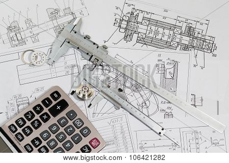 Engineering drawings & measuring instrument - Vernier caliper coursework or thesis project. Project engineer.