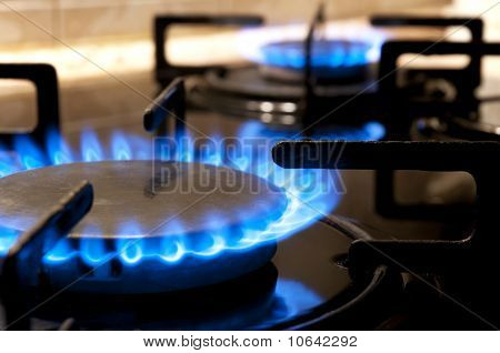 Gas Stove. Closeup
