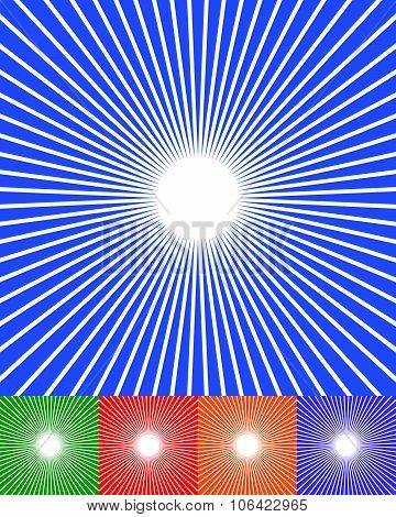 Abstract Starburst, Sunburst, Converging Lines Background. Vector.