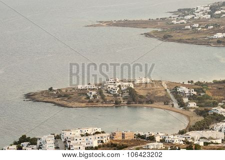 Architecture of Paros island in Greece. View from mountain.