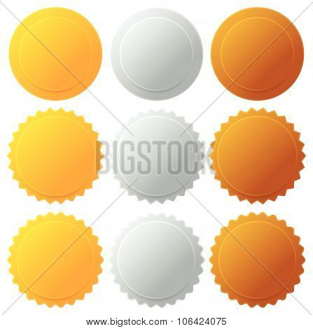 Gold Silver Bronze Medals, Badges. Vector Graphics.