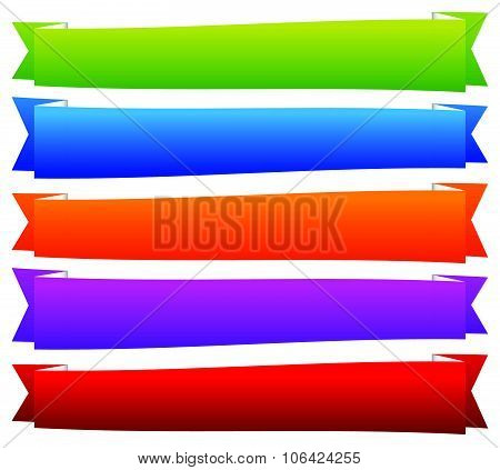 Colorful Banner, Ribbon Or Tape, Band, Strip Templates With Empty Space.