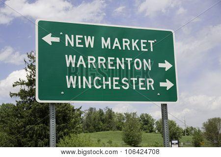 Road signs in Virginia.