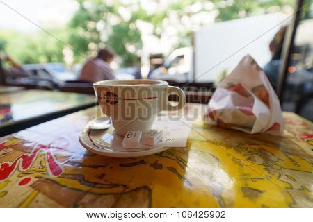 PARIS, FRANCE - AUGUST 10, 2015: coffee in Parisian cafe. Paris is the capital and most-populous city of France. Situated on the Seine River, in the north of the country