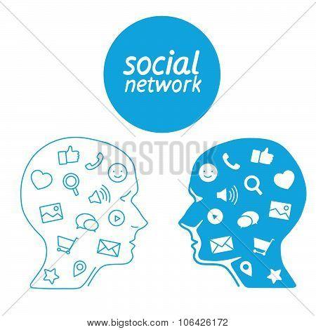 Favorite of program marketer social media  in the form icons