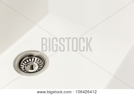 closeup of a white kitchen sink
