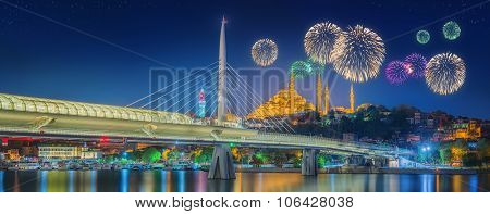 Ataturk bridge, metro bridge and beautiful fireworks, Istanbul