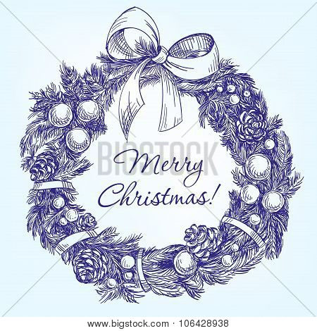 christmas wreath hand drawn vector llustration  realistic  sketch