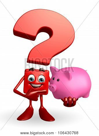 Question Mark Character With Piggy Bank