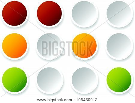 Traffic Lights, Lamps, Traffic Signals. Semaphore Icons Isolated On White.