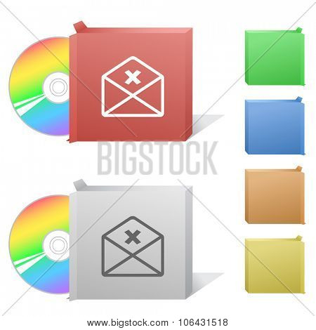 mail cancel. Box with compact disc.  Raster illustration