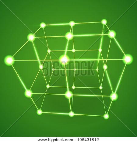 Wireframe Mesh Cube. Connected Dots And Lines.